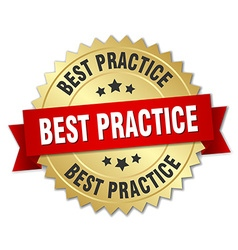 Best practice 3d gold badge with red ribbon vector