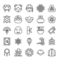 Big set of chinese lunar new year outline icon vector