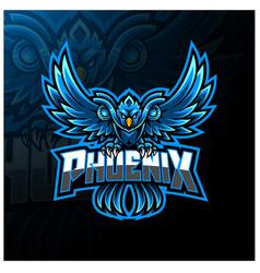 blue phoenix esport mascot logo design vector image