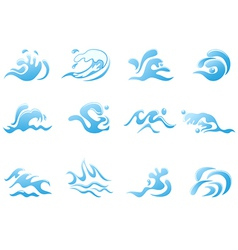 blue wave icons vector image