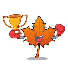 Boxing winner red maple leaf mascot cartoon vector