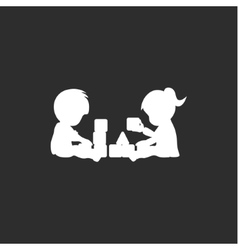 Boy and girl on the floor playing with blocks in vector