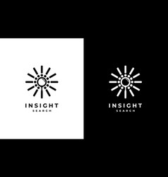 Bright spark with magnifying glass logo design vector