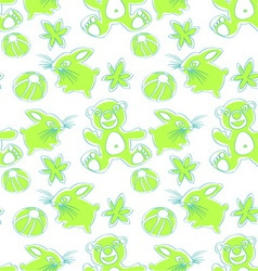bunny and bear seamless pattern vector image