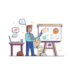 business analyst shows charts and graphs vector image
