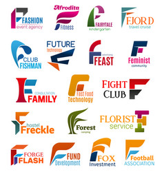 Business icons letter f corporate identity vector