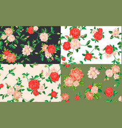 camellia pattern set cartoon style vector image
