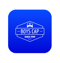 Cap icon blue vector