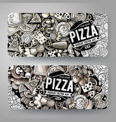 Cartoon graphics hand drawn doodles pizza vector