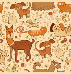Cats and dogs childish seamless pattern vector