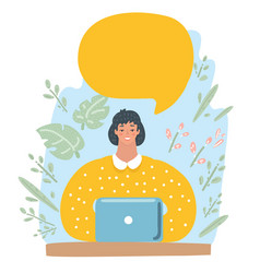 character woman happy working with speech bubble vector image