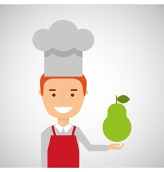 Cheerful chef fresh pear graphic vector