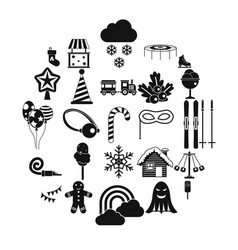 children holidays icons set simple style vector image