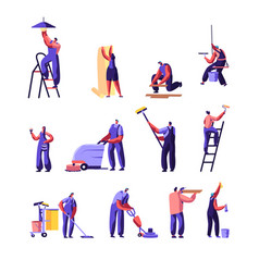 Cleaning and repair service workers set home vector