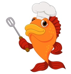 Cute fish chef cartoon holding spatula vector image