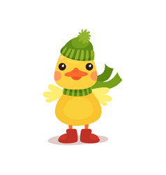 cute little yellow duck chick character in green vector image