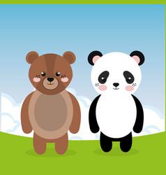 Cute panda bear and teddy in the field landscape vector