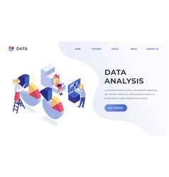 data analysis website template vector image