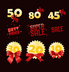 different shopping discount labels sale tags vector image