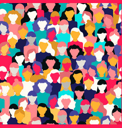 diverse woman crowd pattern for womens day vector image