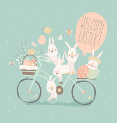 easter bunnies riding on bike with easter eggs vector image
