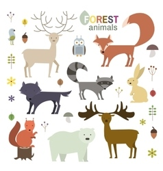 Forest animals set in flat style vector image