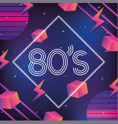 geometric neon style with 80s graphic vector image