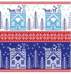 gerbread house snow reinderr sleigh trees star vector image