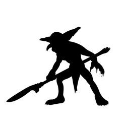 goblin silhouette monster villain fantasy vector image