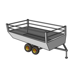 Grey trailer on wheels for transportation of farm vector