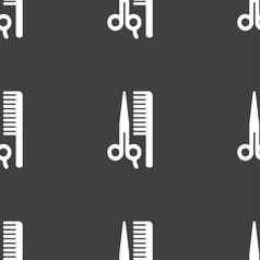 hair icon sign Seamless pattern on a gray vector image