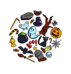halloween circle composition vector image