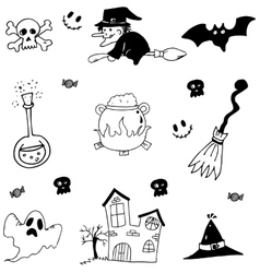 Halloween set in doodle stock vector image