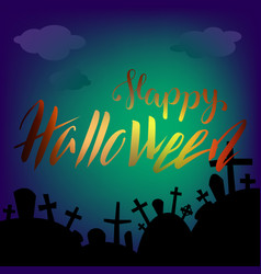 Halloween square banner with graves and dark cloud vector