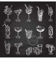 Hand drawn sketch set alcoholic cocktails vector