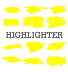 Hand drawn yellow highlight marker lines vector