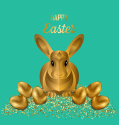 happy easter greeting card with gold eggs vector image