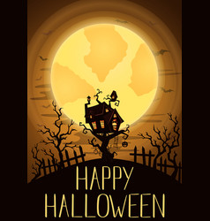 happy halloween party banner with spooky castle vector image