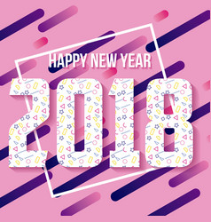 happy new year 2018 theme geometric design card vector image