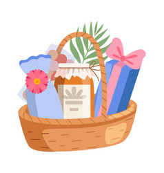 holiday present basket full gifts birthday vector image