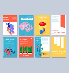 isometric vertical banners set with copy space vector image