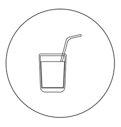 juice glass with drinking straw black icon in vector image