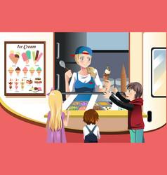 Kids buying ice cream vector