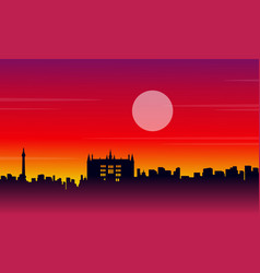 landscape city london building silhouettes style vector image