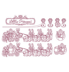 Line cinderella carriage vector