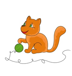 Little funny cat plays with a ball of yarn vector