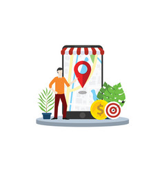 local seo market strategy business search engine vector image