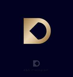 Logo k d monogram business production web digital vector