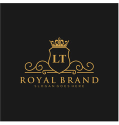 lt letter initial luxurious brand logo template vector image
