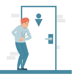man with a diarrhea waiting at toilet vector image